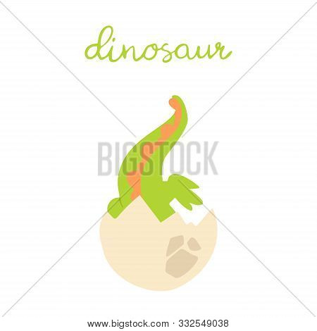 Flat Cartoon Style Cute Dinosaur In The Egg. Vector Illustration For Card Or Poster, Children Room D
