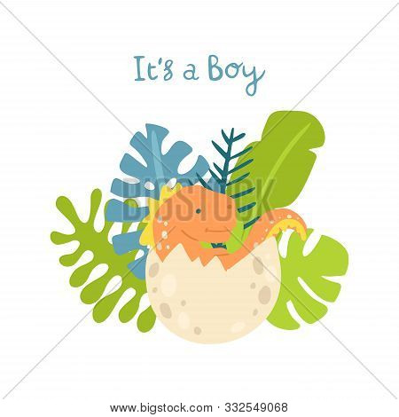 Flat Cartoon Style Cute Dinosaur In The Egg With Tropical Leaves. Vector Illustration For Card Or Po