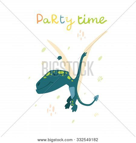 Flat Cartoon Style Cute Pterodactyl Dinosaur. Vector Illustration For Card Or Poster, Children Room