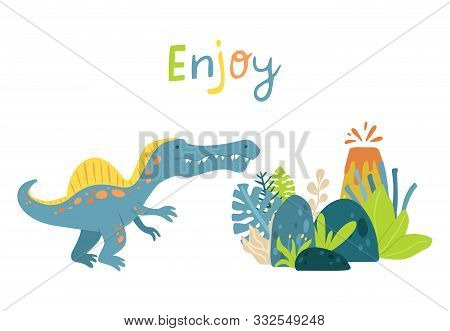 Flat Cartoon Style Cute Dinosaur With Volcano And Tropical Leaves. Vector Illustration For Card Or P