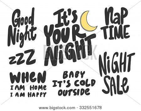 Night, Good, Sleep, Sale, Nap, Cold, Outside. Vector Hand Drawn Illustration Collection Set With Car