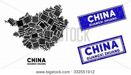 Mosaic Guangxi Zhuang Region Map And Rectangular Seal Stamps. Flat Vector Guangxi Zhuang Region Map