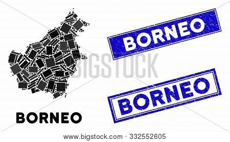 Mosaic Borneo Island Map And Rectangular Seal Stamps. Flat Vector Borneo Island Map Mosaic Of Random