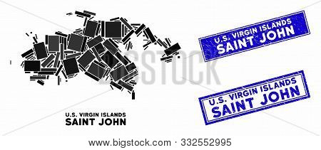poster of Mosaic Saint John Island map and rectangular rubber prints. Flat vector Saint John Island map mosaic of randomized rotated rectangular elements. Blue caption rubber stamps with distress surface.