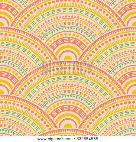 Gypsy Medallions Mosaic Batik Print Vector Seamless Pattern. Tribal Motifs Retro Repeating Scallops.