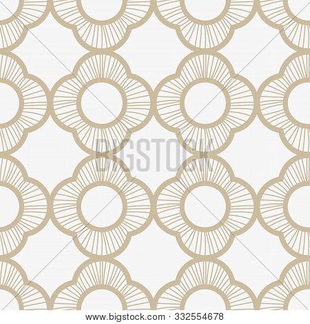 A Seamless Vector Pattern With Subtle Linear Quatrefoils Ornament In Light Colors. Elegant Surface P