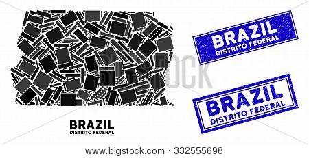 Mosaic Brazil Distrito Federal Map And Rectangular Stamps. Flat Vector Brazil Distrito Federal Map M