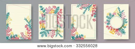 Botanical Herb Twigs, Tree Branches, Leaves Floral Invitation Cards Collection. Plants Borders Retro
