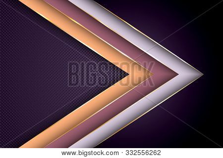 Polygonal Arrow With Gold Triangle Edge Lines Banner Vector Design. Rich Poster Background Template.