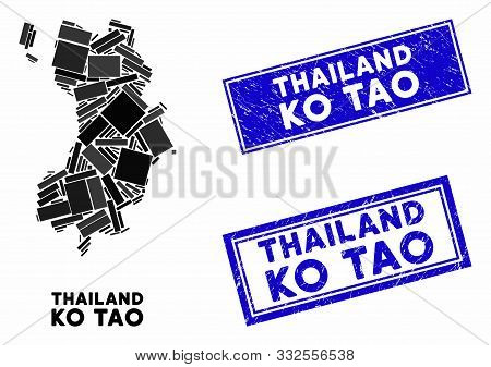 Mosaic Ko Tao Map And Rectangle Seal Stamps. Flat Vector Ko Tao Map Mosaic Of Scattered Rotated Rect