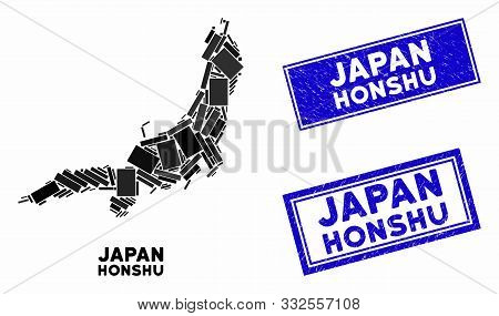 Mosaic Honshu Island Map And Rectangular Stamps. Flat Vector Honshu Island Map Mosaic Of Scattered R