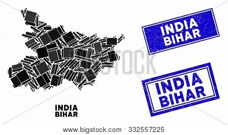 Mosaic Bihar State Map And Rectangle Seal Stamps. Flat Vector Bihar State Map Mosaic Of Random Rotat