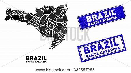 Mosaic Santa Catarina State Map And Rectangle Seal Stamps. Flat Vector Santa Catarina State Map Mosa