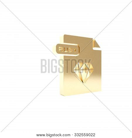 Gold Ruby File Document. Download Ruby Button Icon Isolated On White Background. Ruby File Symbol. 3
