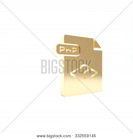 Gold Php File Document. Download Php Button Icon Isolated On White Background. Php File Symbol. 3d I