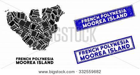 Mosaic Moorea Island Map And Rectangle Seal Stamps. Flat Vector Moorea Island Map Mosaic Of Random R