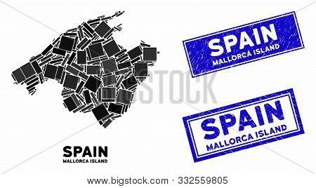 Mosaic Spain Mallorca Island Map And Rectangle Rubber Prints. Flat Vector Spain Mallorca Island Map