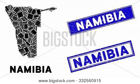 Mosaic Namibia Map And Rectangular Rubber Prints. Flat Vector Namibia Map Mosaic Of Scattered Rotate