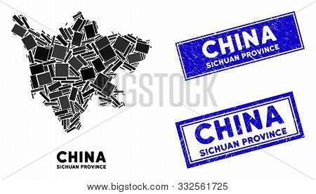 Mosaic Sichuan Province Map And Rectangular Seal Stamps. Flat Vector Sichuan Province Map Mosaic Of