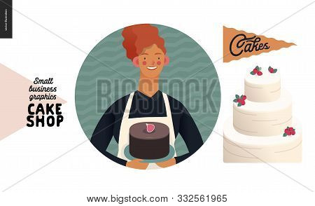 Cake Shop, Cakes On Demand - Small Business Graphics - About Us Icon -modern Flat Vector Concept Ill