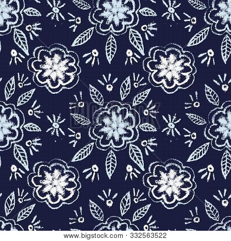 A Seamless Vector Pattern With Simple Folk Floral Ornament On A Dark Indigo Blue Background. Decorat