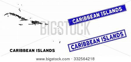 Mosaic Caribbean Islands Map And Rectangle Seal Stamps. Flat Vector Caribbean Islands Map Mosaic Of