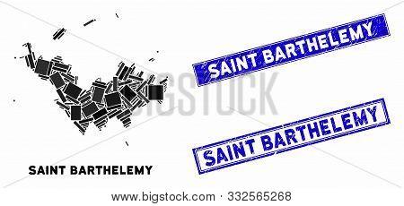 Mosaic Saint Barthelemy Map And Rectangular Seal Stamps. Flat Vector Saint Barthelemy Map Mosaic Of