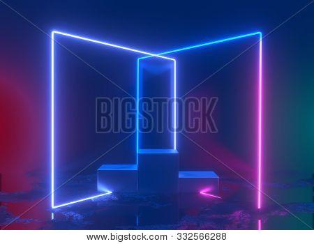 3d Rendering, Neon Light, Glowing Lines, Ultraviolet, Stage, Portal, Square Portal, Pedestal, Virtua
