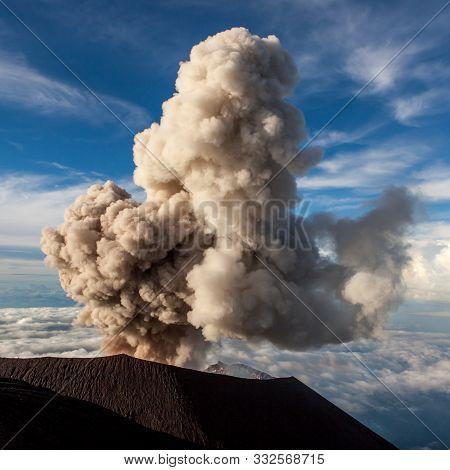 Semeru Volcano Eruption. Mt. Semeru Erupts Cloud Of Ash. Java Island. Indonesia.