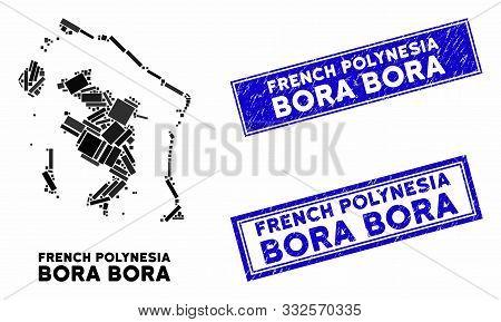 Mosaic Bora-bora Map And Rectangle Watermarks. Flat Vector Bora-bora Map Mosaic Of Random Rotated Re