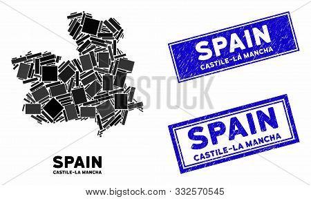 Mosaic Castile-la Mancha Province Map And Rectangular Rubber Prints. Flat Vector Castile-la Mancha P