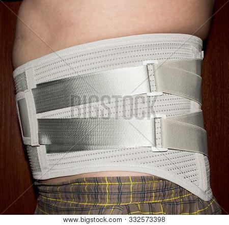 Orthopedic Corset On The Human Body.elastic Medical Waist Corset For Lower Back.