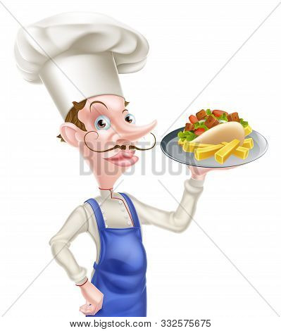 An Illustration Of A Cartoon Chef With Pita Kebab And Chips