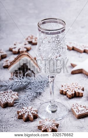 Christmass New Year Decorations. Wineglass Decorated With Icing, Gingerbread Cookies.