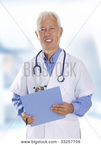 Asian senior male doctor portrait in hospital