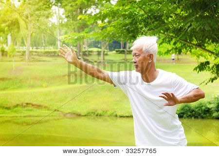 Asian senior man practicing tai chi in the park