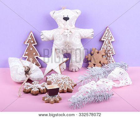 Christmass New Year Decorations. Greeting Card. Milk Chocolate Candy, Gingerbread Cookies, Stuffed T