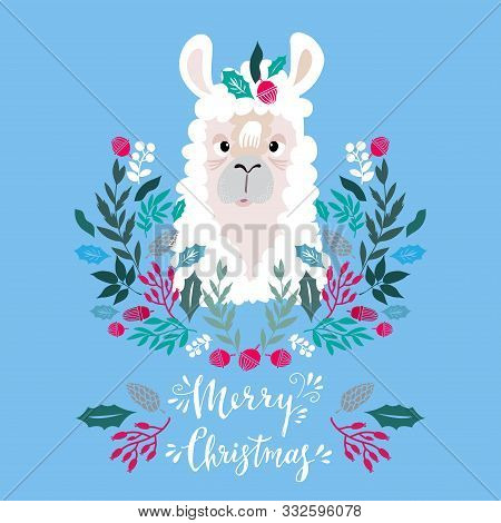 Template  Christmas  Card With  Lama And Christmas  Floral Wreath.  Festive Christmas  Background.