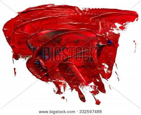 Hand Drawn Isolated Paintbrush Stripe With Dirty Red Color Oil. Splatter Paint Texture. Distress Rou