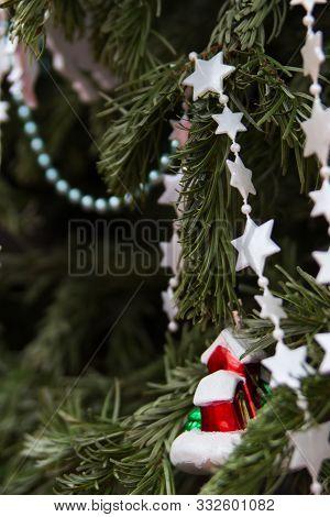 Beautiful Decorated Ornate Christmas Tree Selective Focus.