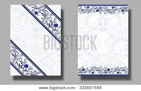 Collection Of Vertical Wedding Invitation Cards With Blue Flower Ornament. Ethnic Style Of Painting