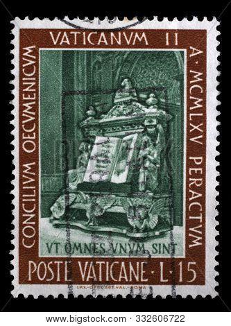 ZAGREB, CROATIA - JUNE 25, 2014: A stamp issued in Vatican shows Gospel, Closure of the ecumenical council, circa 1966.