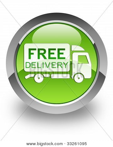 Free delivery truck glossy icon