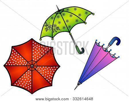 Umbrellas. Set Of Multi-colored Umbrellas. Umbrella With Peas, Umbrella In Flower, Purple Umbrella.
