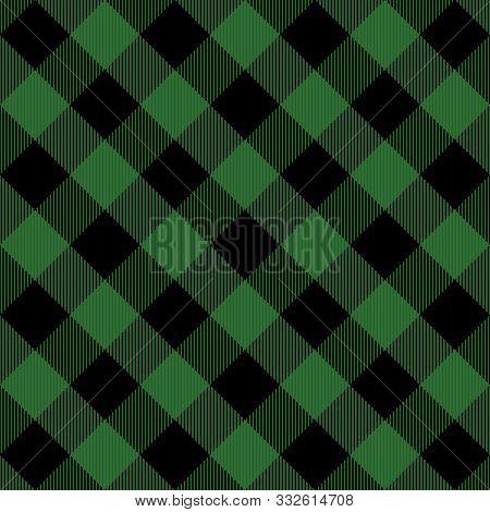 Lumberjack Tartan Plaid. Scottish Diagonal Pattern In Black And Green Cage. Scottish Cage. Tradition