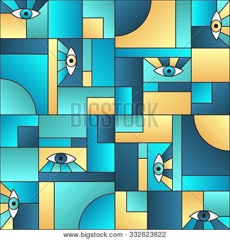poster of Colorful pattern with eyes in geometric shapes grid 80s and 90s vintage fashion fabric print. Decorative modules illustration. Open eyes bauhaus geometric seamless pattern. Gradient vector design.