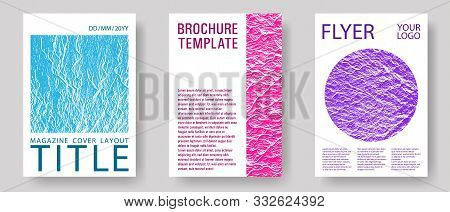 Catalog Cover Vector Templates. Teal Pink Purple Waves Texture Backdrops. Buzzing Flux Ripple Moveme