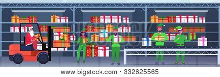 santa claus driving forklift truck elves loading colorful gift present boxes on conveyor belt merry christmas happy new year celebration concept modern warehouse interior horizontal vector illustration poster