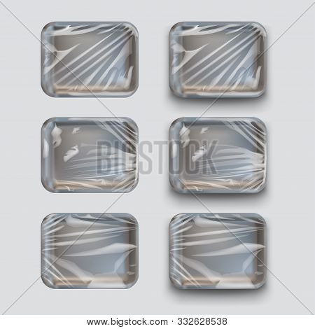 Illustration Of Black Styrofoam Containers With Plastic Stretch Film Set On White Background