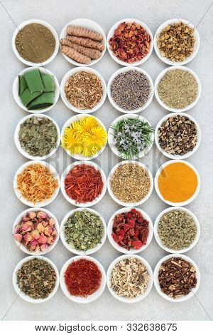 Herbal medicine collection with herbs and spices used in skin care for anti ageing & to help soothe and heal various skin conditions including acne, eczema & psoriasis. In porcelain bowls. Flat lay.
